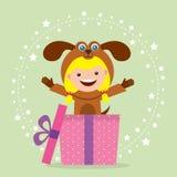 Cartão de aniversário com as crianças no traje animal Foto de Stock