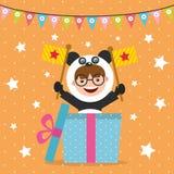 Cartão de aniversário com as crianças no traje animal Fotos de Stock
