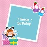 Cartão de aniversário com as crianças no traje animal Imagens de Stock Royalty Free
