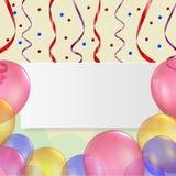 Cartão de aniversário com balão e fita Imagens de Stock