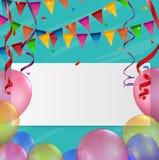Cartão de aniversário com balão e fita Fotografia de Stock