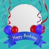 Cartão de aniversário com balão e fita Imagem de Stock Royalty Free