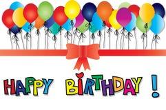 Cartão de aniversário com balões Fotografia de Stock