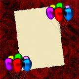 Cartão de aniversário com balões Imagem de Stock Royalty Free