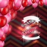 Cartão de aniversário com balões Fotos de Stock