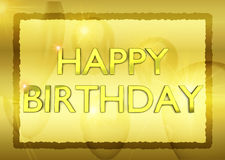 Cartão de aniversário com ballons dourados do partido no fundo Imagem de Stock Royalty Free