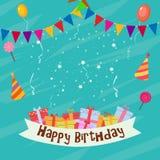 Cartão de aniversário com bandeira Fotografia de Stock