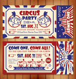 Cartão de aniversário com bilhete do circo Foto de Stock Royalty Free