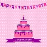 Cartão de aniversário com bolo Fotos de Stock