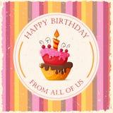Cartão de aniversário com bolo ilustração royalty free
