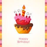 Cartão de aniversário com bolo Fotos de Stock Royalty Free
