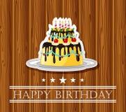 Cartão de aniversário com bolo colorido Foto de Stock Royalty Free