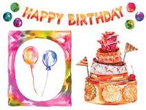 Cartão de aniversário com bolo, festão decorativa alegre, cartão colorido do desejo, decoração da aquarela do vetor com quadro Imagens de Stock Royalty Free