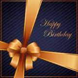 Cartão de aniversário com fita do ouro Foto de Stock Royalty Free