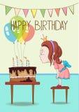 Cartão de aniversário com menina ilustração royalty free