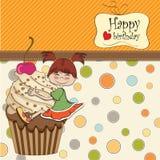 Cartão de aniversário com menina engraçada Imagens de Stock Royalty Free