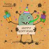 Cartão de aniversário com monstro engraçado Fotos de Stock