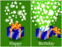 Cartão de aniversário com o presente fechado e aberto Fotografia de Stock Royalty Free