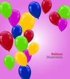 Cartão de aniversário com os balões coloridos bonitos Foto de Stock Royalty Free