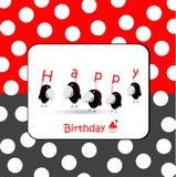 Cartão de aniversário com pássaros Fotos de Stock Royalty Free