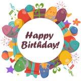 Cartão de aniversário com pássaros bonitos, flores e balões, presentes do gelado Fotos de Stock