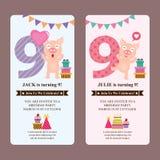 Cartão de aniversário com porco bonito ilustração do vetor