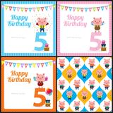 Cartão de aniversário com porco bonito ilustração stock