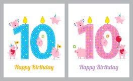 Cartão de aniversário com porco bonito ilustração royalty free