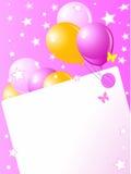Cartão de aniversário cor-de-rosa ilustração stock