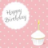 Cartão de aniversário cor-de-rosa Foto de Stock Royalty Free