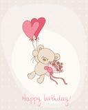 Cartão de aniversário do cumprimento com urso bonito ilustração do vetor