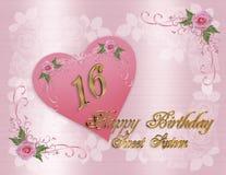 Cartão de aniversário do doce 16 Fotografia de Stock Royalty Free