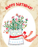 Cartão de aniversário do vintage com potenciômetro de flor Fotos de Stock Royalty Free