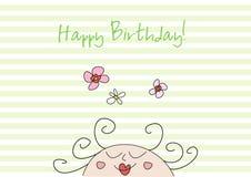 Cartão de aniversário engraçado do doodle Imagens de Stock