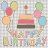 Cartão de aniversário feito à mão Imagem de Stock