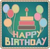 Cartão de aniversário feito à mão Imagens de Stock