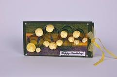 Cartão de aniversário feito a mão com flores Imagem de Stock