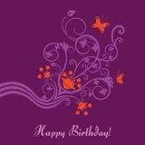 Cartão de aniversário floral roxo e cor-de-rosa ilustração royalty free