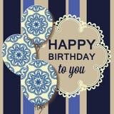 Cartão de aniversário luxuoso com balões do teste padrão Imagens de Stock