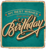 cartão de aniversário Mão-indicado por letras do vintage Fotos de Stock Royalty Free
