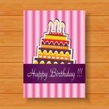 Cartão de aniversário no fundo de madeira Fotografia de Stock Royalty Free