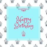 Cartão de aniversário no quadrado azul ilustração stock