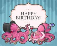 Cartão de aniversário retro Fotografia de Stock Royalty Free