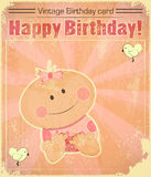 Cartão de aniversário retro do bebé Fotografia de Stock Royalty Free