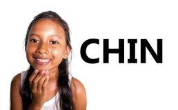 Cartão de aprendizagem inglês da escola das peças do corpo e da cara com a criança asiática bonita e feliz que aponta seu alegre  fotografia de stock royalty free
