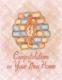 Cartão de aquecimento das felicitações da casa da aquarela Foto de Stock Royalty Free