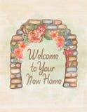 Cartão de aquecimento do convite da casa da aquarela ilustração stock