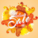 Cartão de Autumn Sale Lettering Seasonal Banner ilustração royalty free
