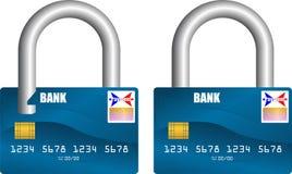 Cartão de banco destravado e travado Imagem de Stock