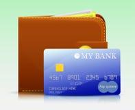 Cartão de banco e uma bolsa de couro Fotografia de Stock